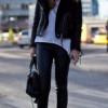 С чем носить черную дубленку (18 фото)