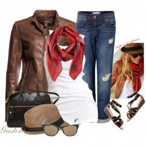 С чем носить коричневую куртку