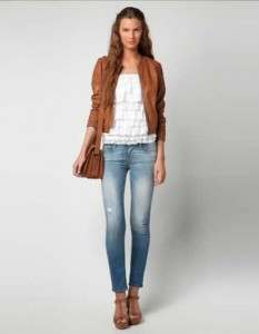 С чем носить коричневую кожаную куртку