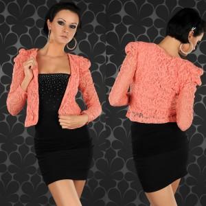 коралловый пиджак с платьем