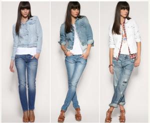 короткий пиджак и джинсы
