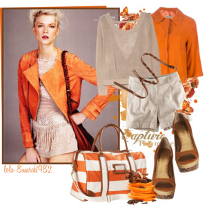 бежевый и оранжевый