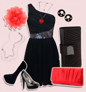 красное с черным платьем