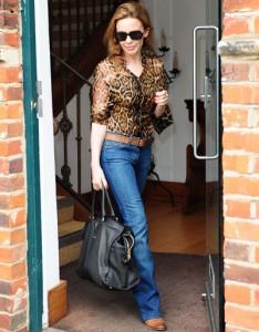 леопардовый  и джинс