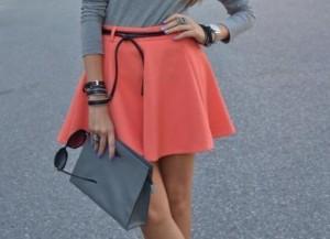 юбка кораллового цвета