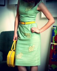 коктейльное льняное платье