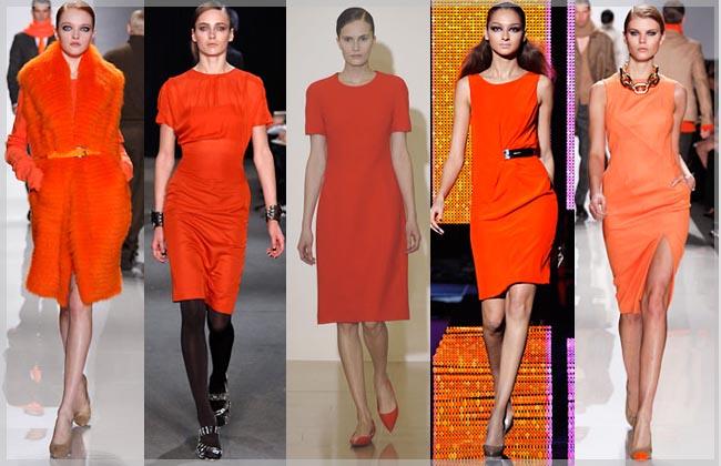 Оранжевое платье сочетание