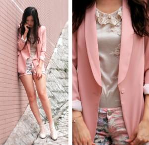 с чем носить нежно-розовый пиджак