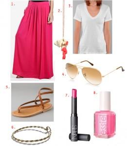 юбка в пол розовая