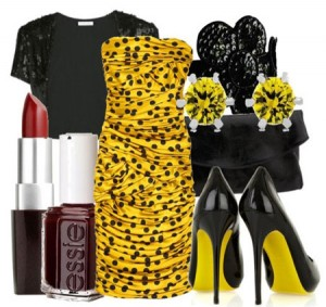 черный с желтым