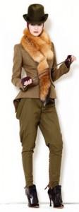 коричневые брюки-галифе с чем носить