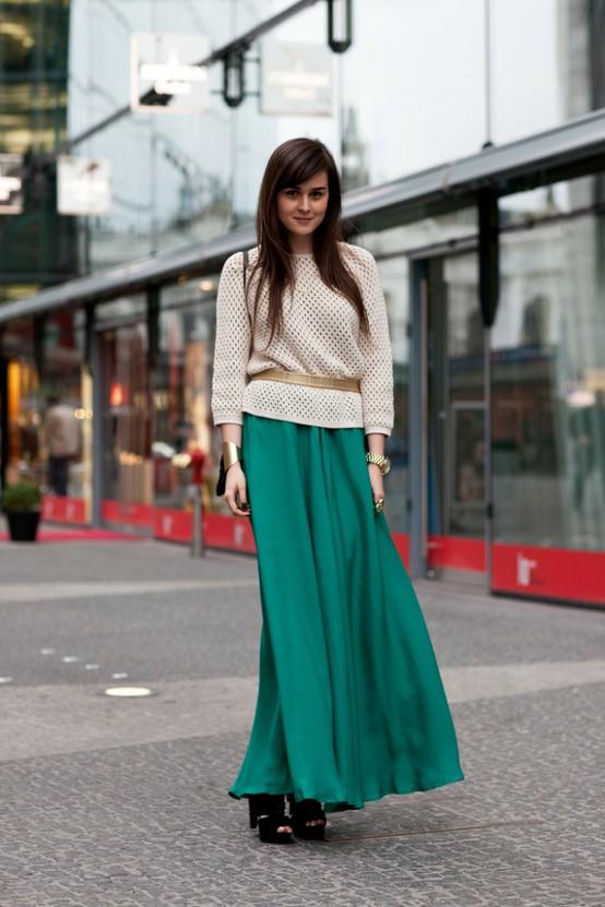 Зеленые длинные юбки с чем носит фото
