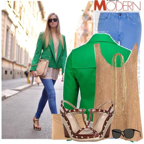 С чем носят зеленый пиджак