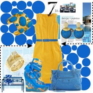 синий и желтый цвет в одежде