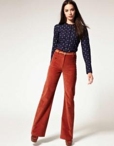 ретро стиль в вельтовых брюках