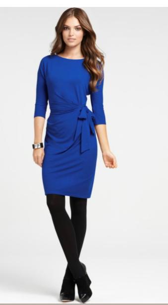 Ярко Синее Шерстяное Короткое Платье 32