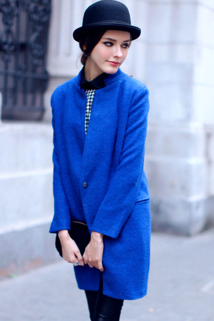 Синее пальто с чем носить 25 фото