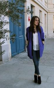 пальто женское синее