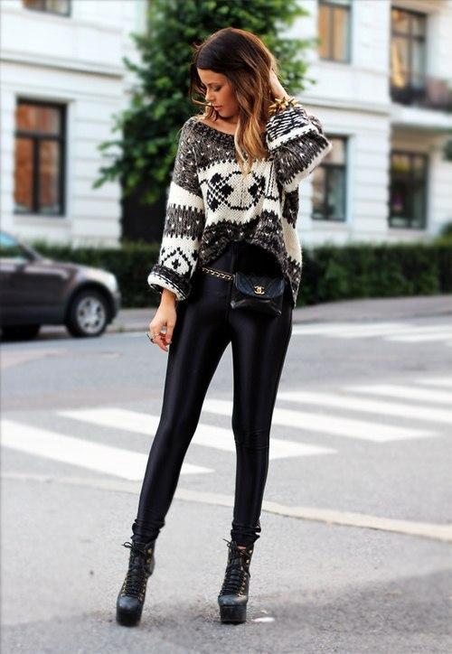 Чёрные лосины с чем носить фото