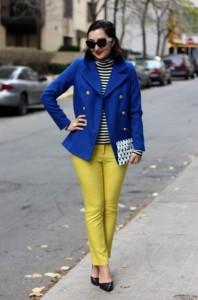 Синее пальто с чем носить