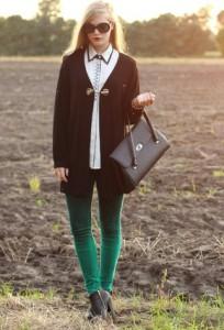 с чем носить брюки зеленого цвета