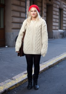 Белый свитер крупной вязки с чем носить