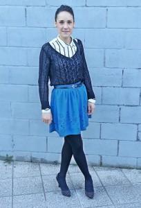 С чем носить синюю юбку фото