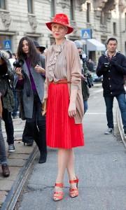 юбка красного цвета
