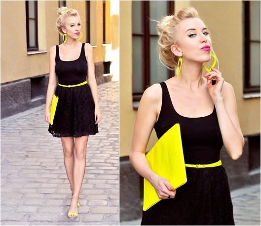 Черное платье с желтыми туфлями