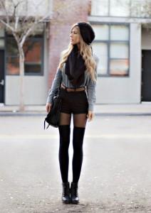 С чем носить черные шорты фото