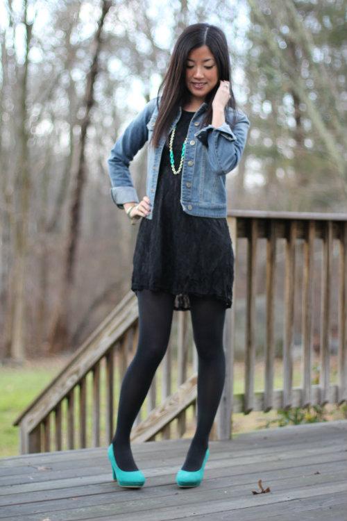 Джинсовка с черным платьем