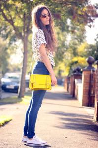 С чем носить желтую сумку фото