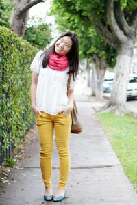 С чем носить желтые джинсы фото