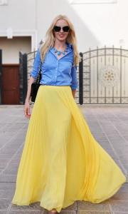с чем носить юбку желтого цвета фото