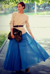 с чем носить длинную шифоновую юбку
