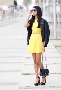 с чем носить платье желтого цвета фото