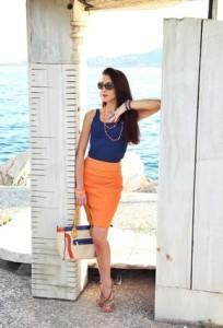 оранжевая юбка с чем носить фото