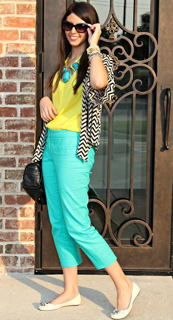 Бирюзовый брюки с чем носить фото