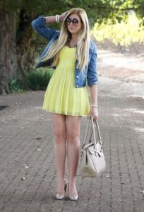 С чем носить желтое платье фото