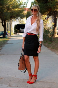 обувь к юбке-карандаш фото
