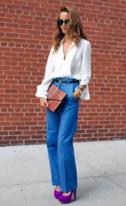 С чем носить джинсы с завышенной талией