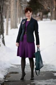 с чем носить фиолетовое платье фото