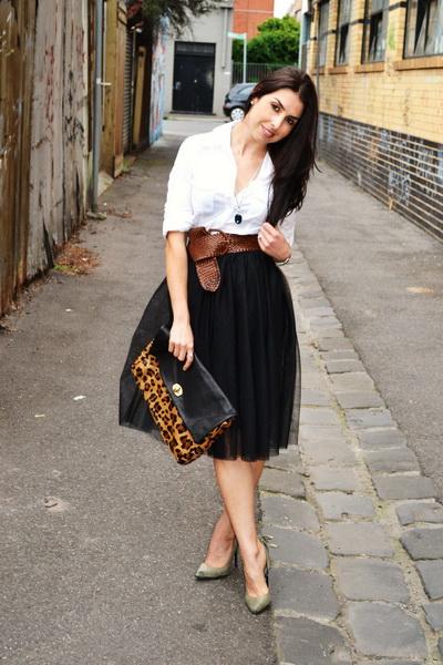 Шифоновая юбка белая