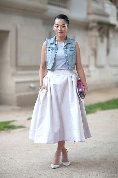 Что одеть с белой пышной юбкой