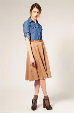 С чем можно одеть расклешенную юбку