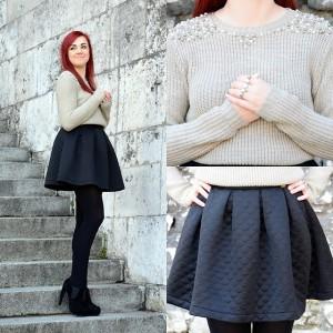 стеганая юбка с кофтой