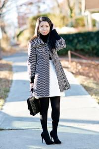 стеганая юбка с пальто