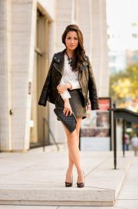 стеганая юбка с блузкой