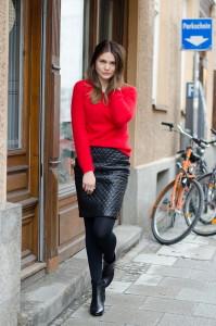 стеганая юбка с пуловером