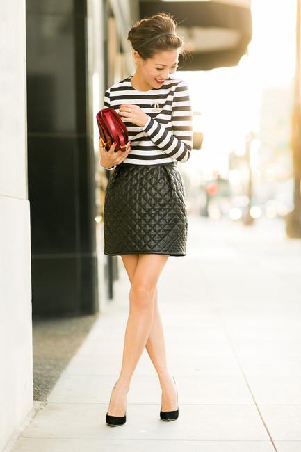 Как носить стеганую юбку